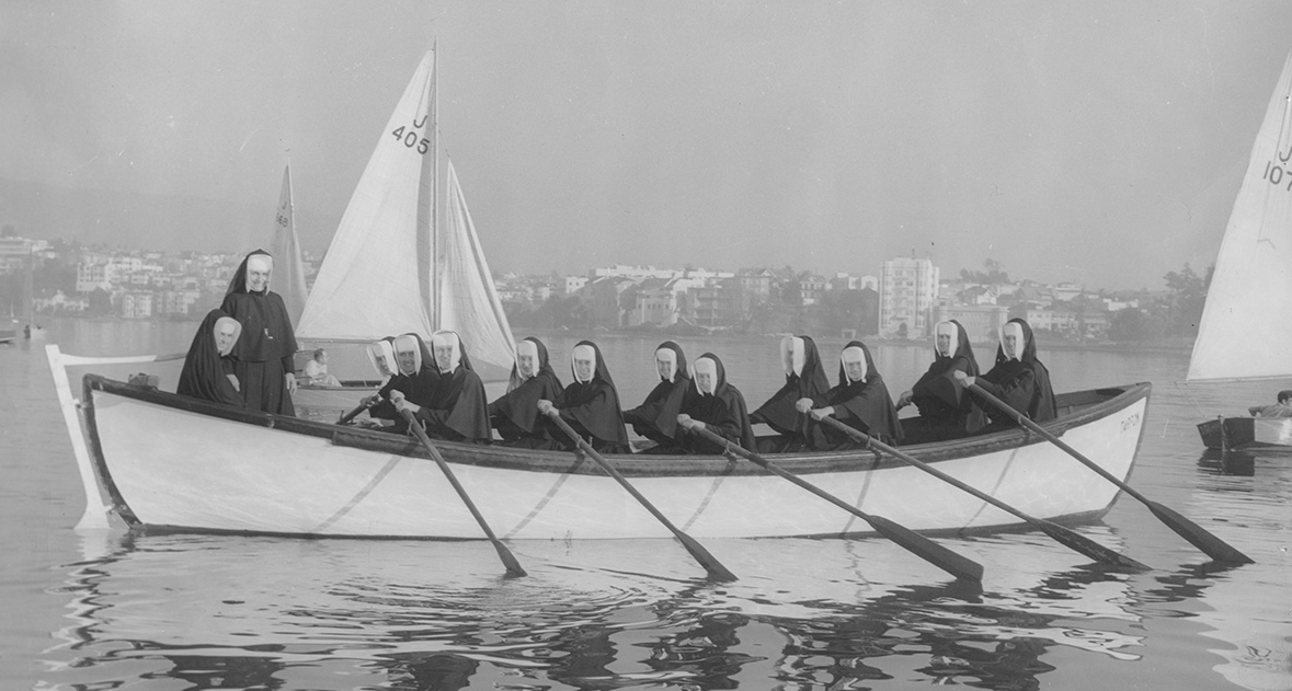 Sister of the Holy names sailing on Lake Merrit